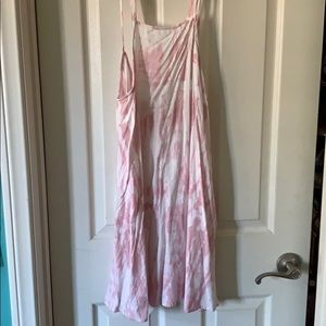 pink and white tie dye dress spaghetti strap